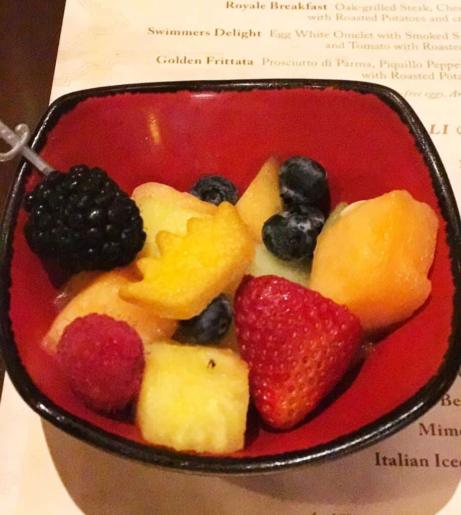 The fruit salad at Bon Voyage Character Breakfast is delicious and a great appetizer.