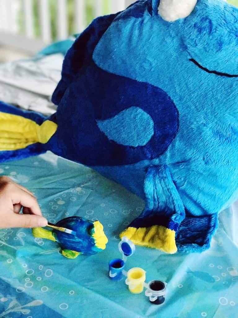 Kids love to paint, so we had a Finding Dory Painting Station