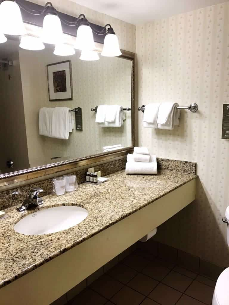 Take a look in the bathrooms at Hershey Lodge and you'll find sweet surprises like Hershey Kiss wallpaper.