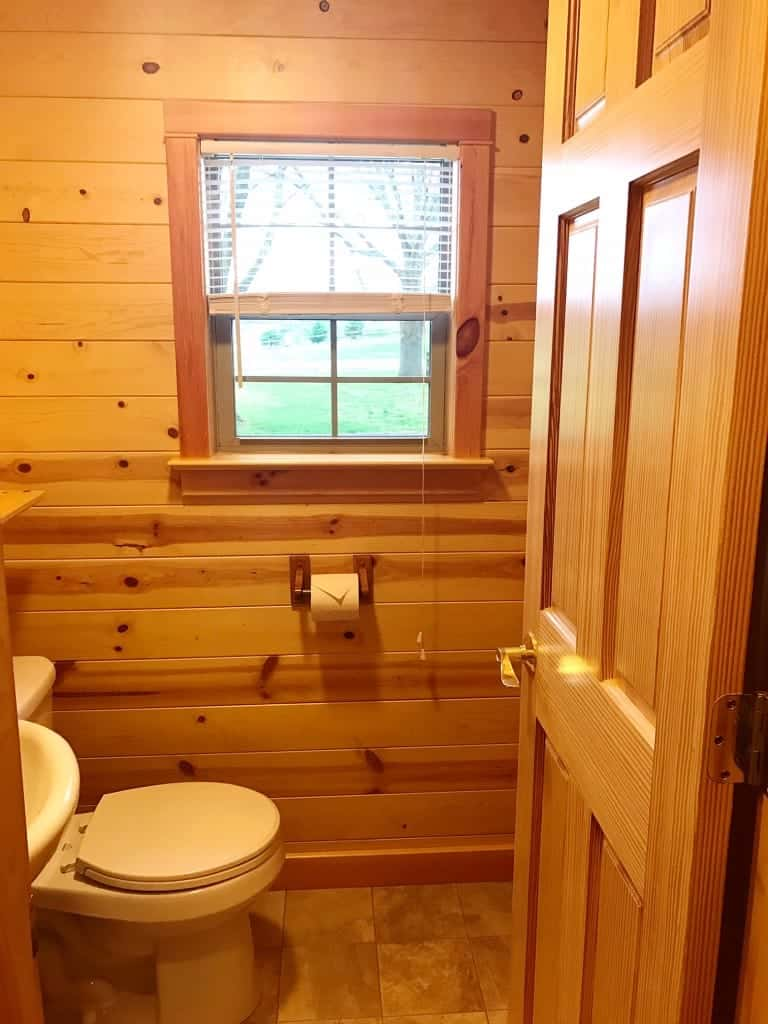 A toilet and a shower in the deluxe cabins at Hershey Park campground - holla!