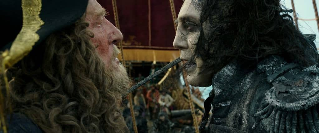Captain Barbossa meet super scary Captain Salazar in my Pirates of the Caribbean: Dead Men Tell No Tales review.