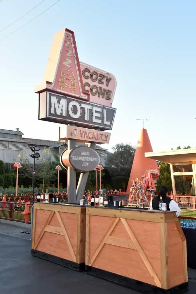 The cars 3 Premiere After Party was in Cars Land. Free food from the Cozy Cone Motel!
