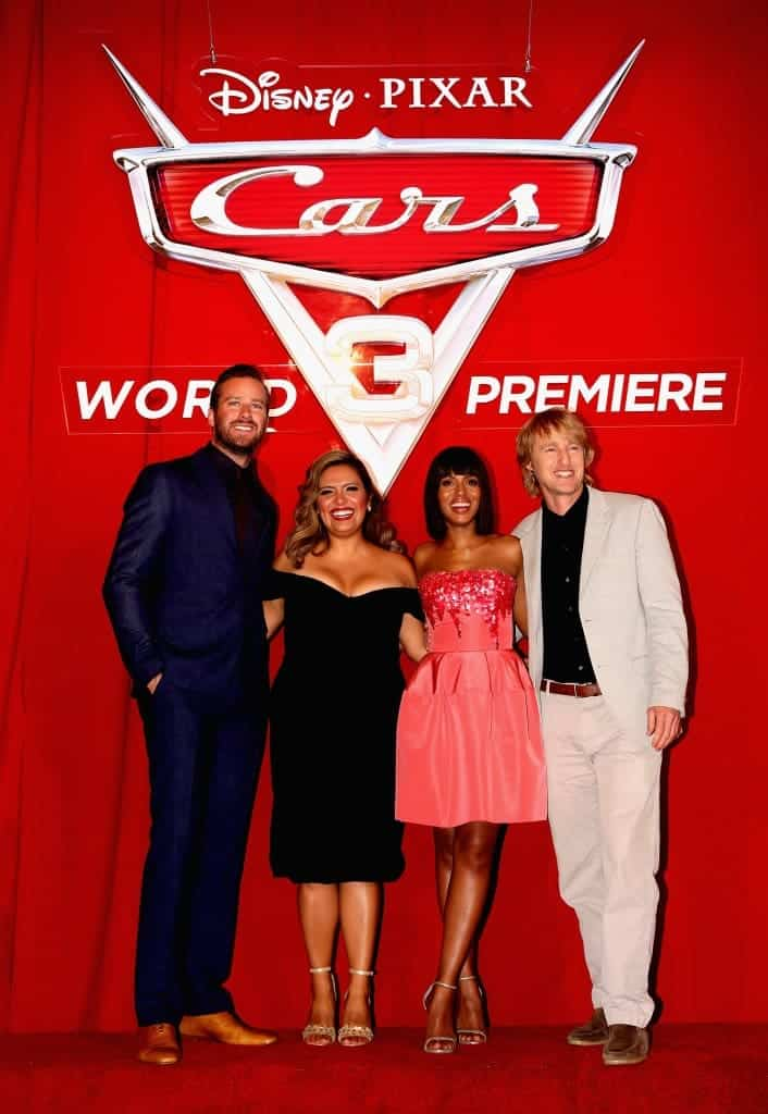Armie Hammer, Cristela Alonzo, Kerry Washington, Owen Wilson pose on the red carpet at the Cars 3 Premiere