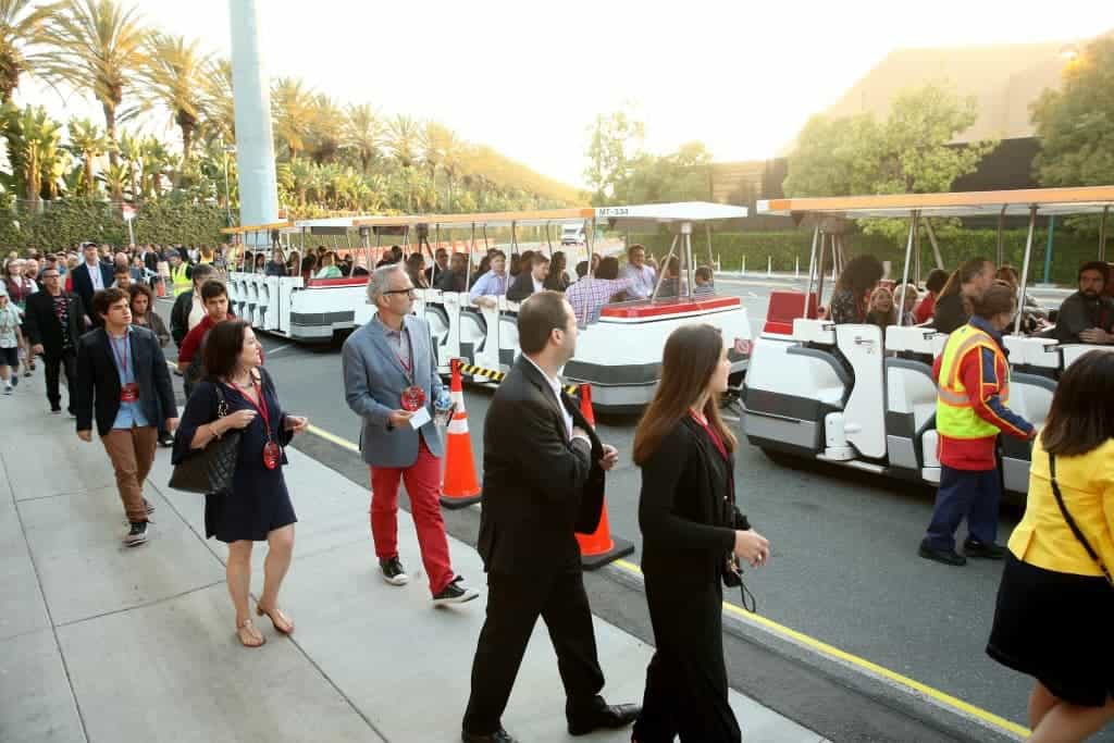 Trams take guests to the back of Cars Land in California Adventure for the after party!