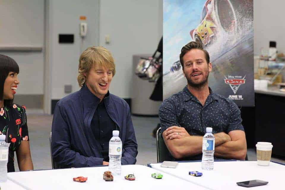 Owen Wilson and Armie Hammer share tons of laughs during our exclusive Cars 3 interview during the Cars 3 event!