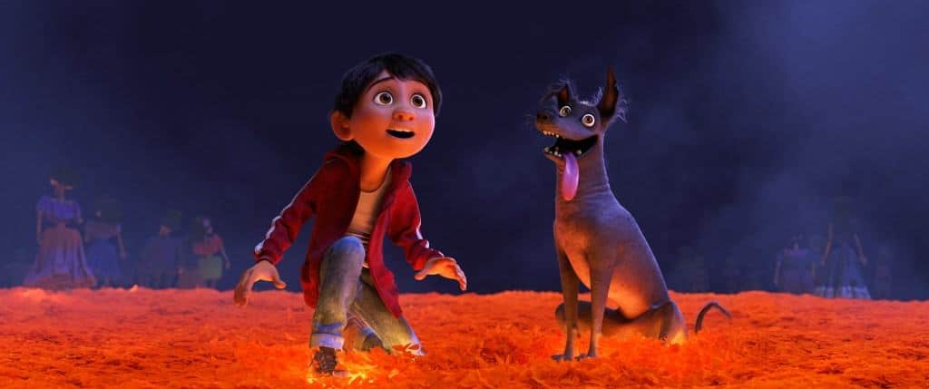 Movies with pets are always better. Miguel's trusty sidekick Dante helps him out in Disney Pixar's Coco.
