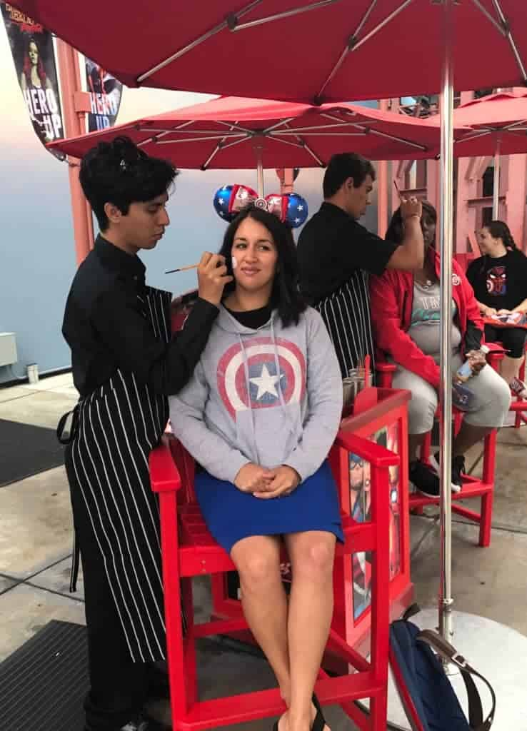 I got an Agent of SHIELD painted on my face at Disney California Adventure for Summer of Heroes!