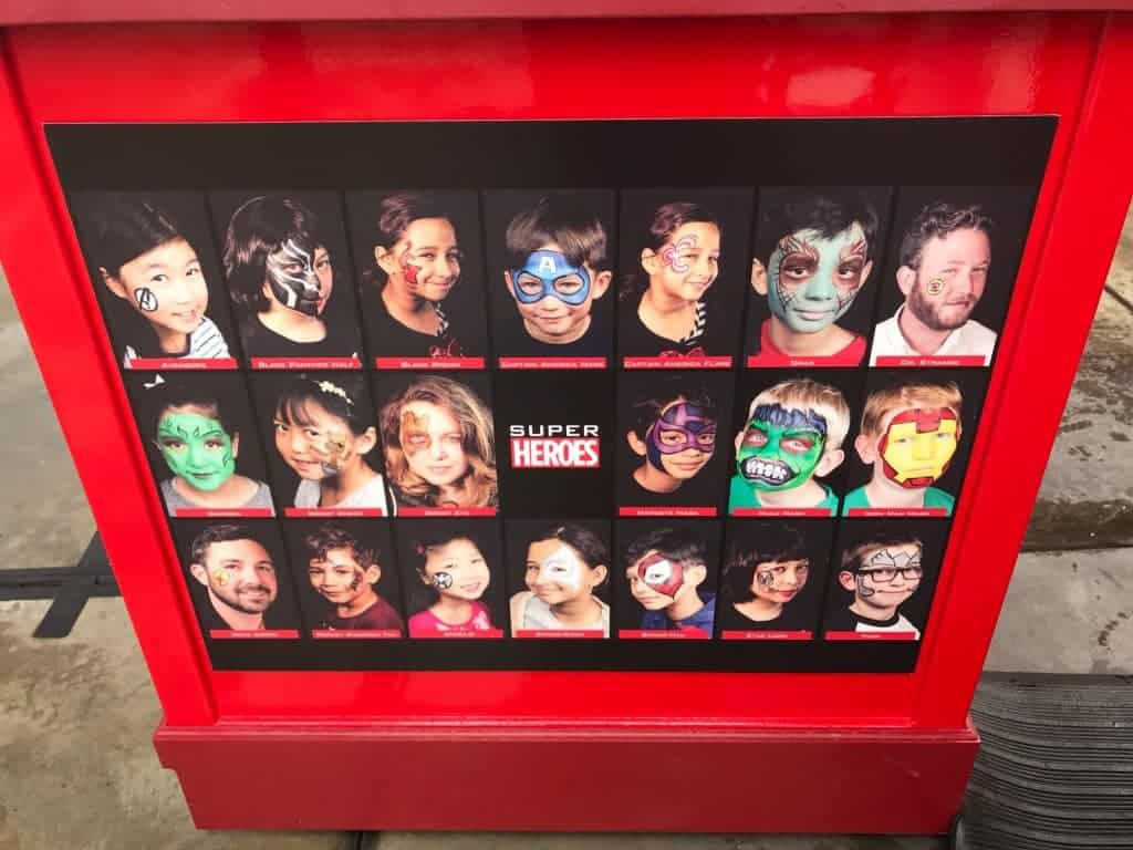 Free, yes, I said free, face painting for Summer of Heroes at Disney California Adventure
