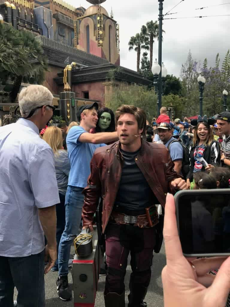 Star-Lord dances through the crowd during the Guardians of the Galaxy: Awesome Dance Off!
