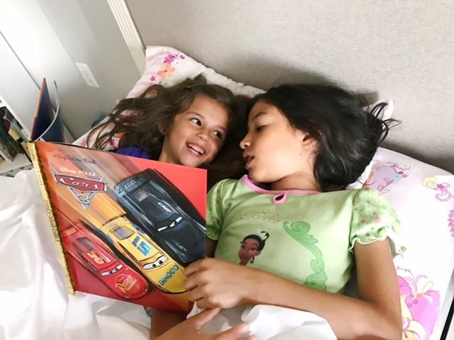 Cars 3 Big Golden Book is big enough for sisters to read together!