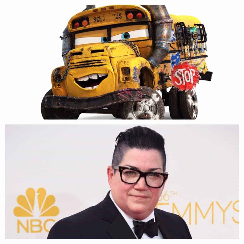 Lea DeLaria voices the funny Miss Fritter in Cars 3.