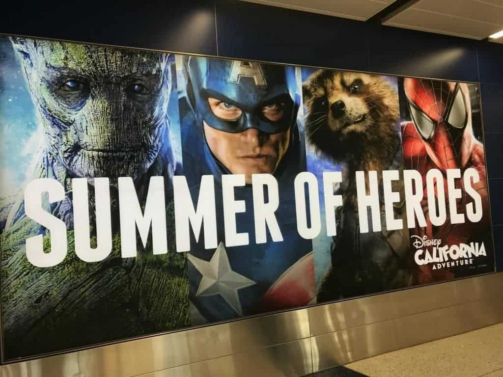 The beautiful Summer of Heroes sign at LAX airport!
