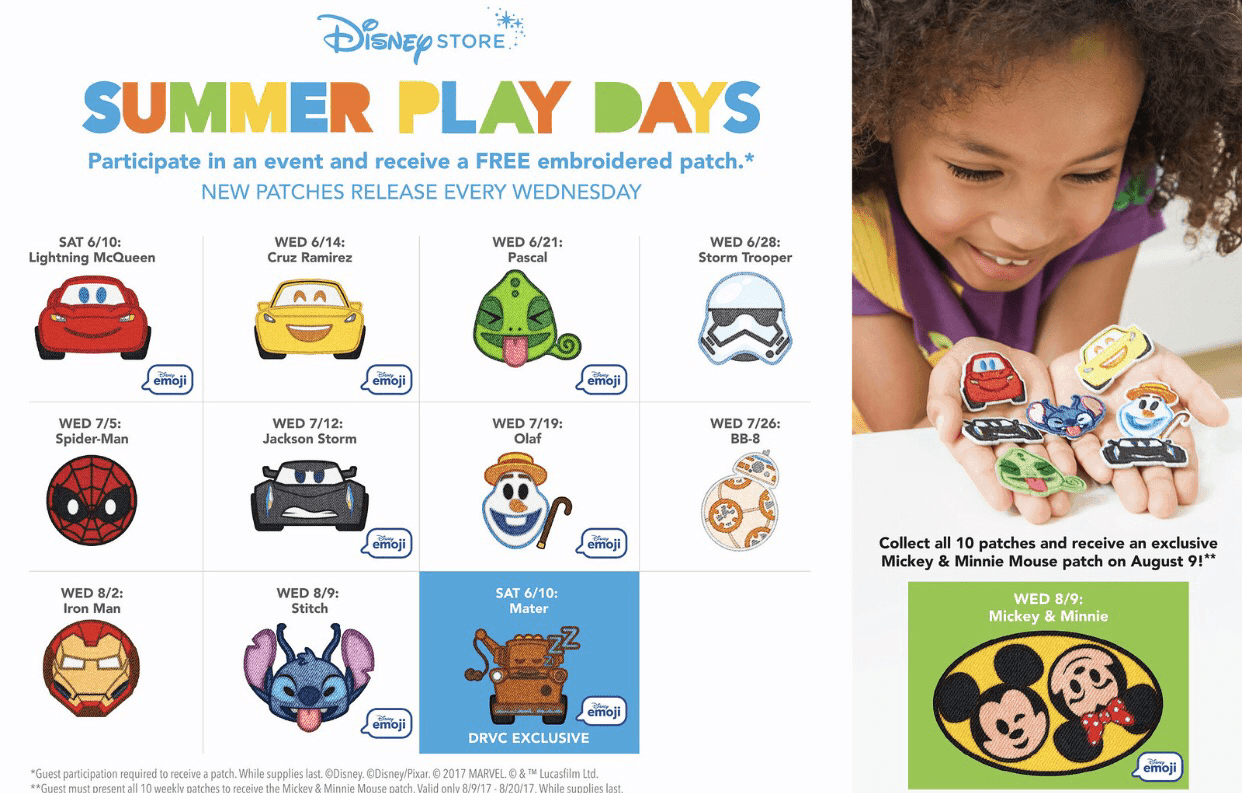 Collect patches during Summer Play Days at the Disney Store this summer!