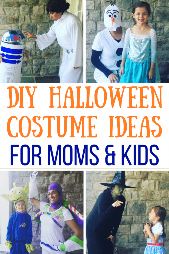 Need easy Halloween Costumes for moms, kids, or family? Here are some easy, creative DIY and store-bought and budget-friendly costume ideas made in less than an hour. Happy Halloween!