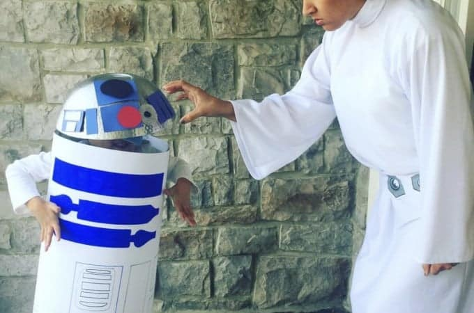 Princess Leia and DIY R2D2 Halloween Costume