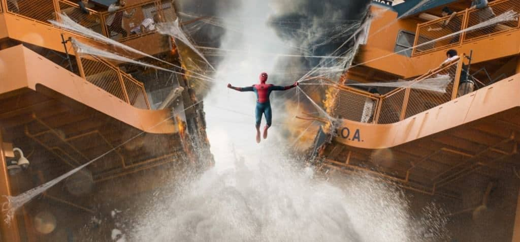 The action scenes are not too violent for kids in Spider-Man: Homecoming.
