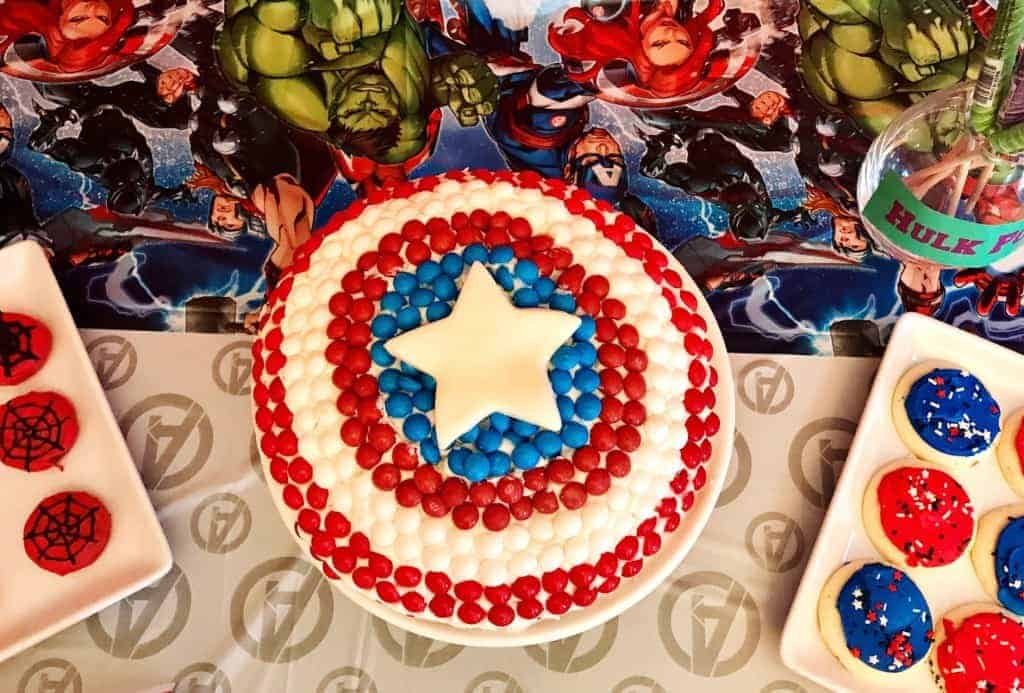 Make an easy Captain America cake with candy and a box cake mix!