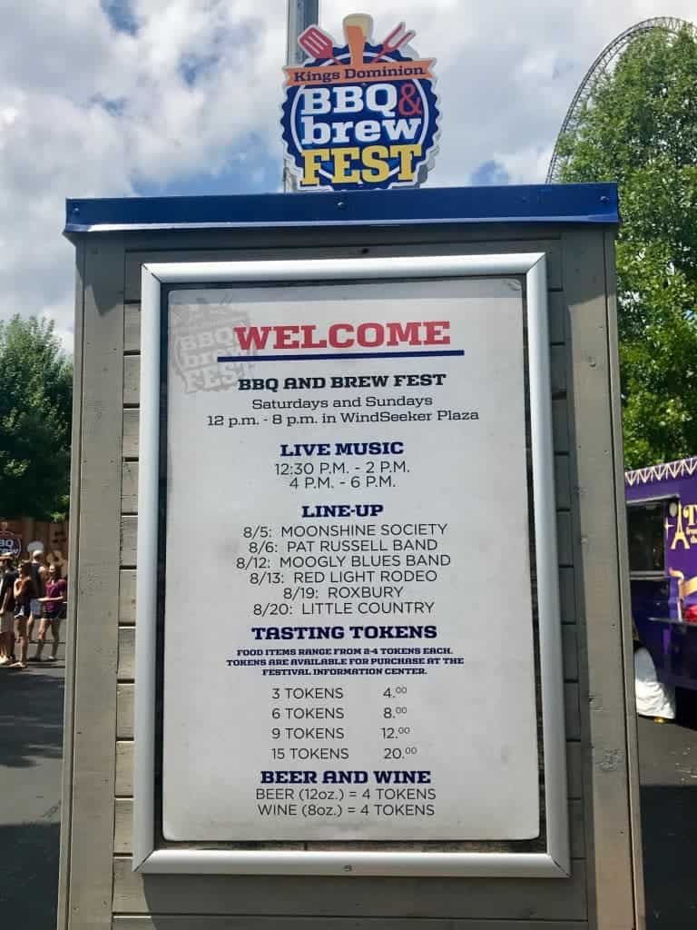 You need to purchase tokens to buy BBQ and beer at Kings Dominion BBQ & brew fest.