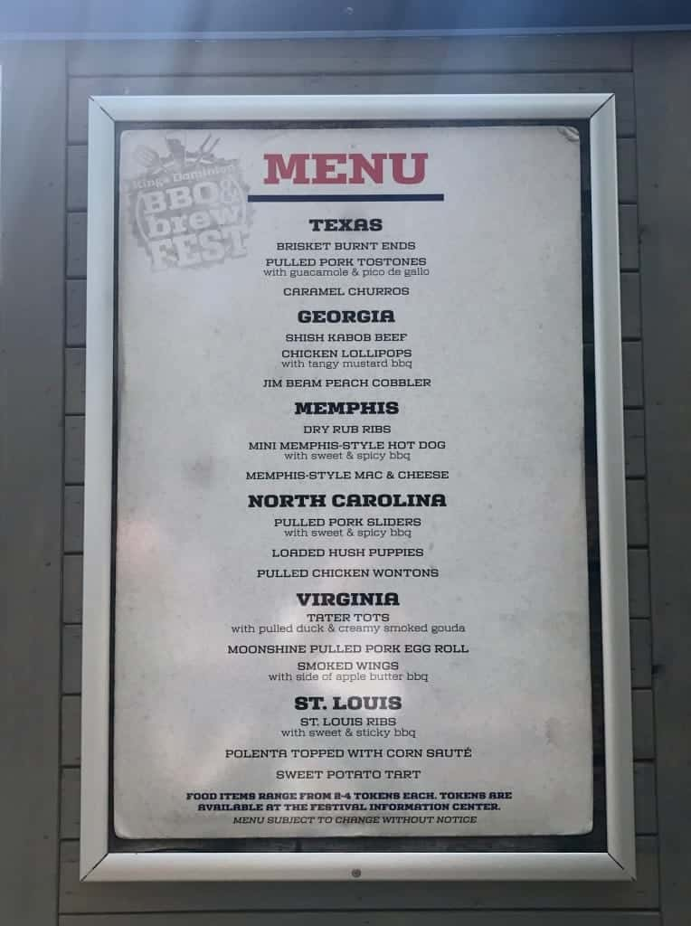 Here's the Kings Dominion BBQ & Brew fest menu!