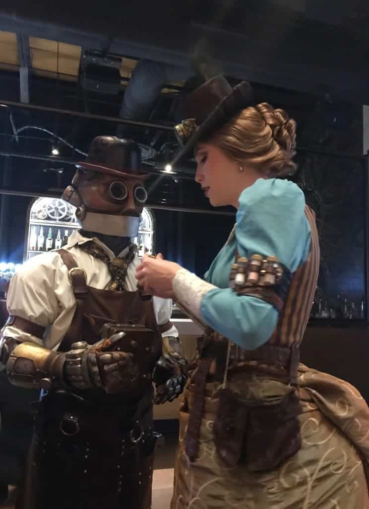 When dining at Toothsome Chocolate Emporium, characters come around the table to greet you.
