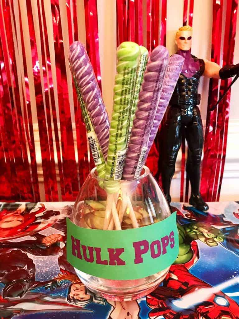 Grab some purple and green lollipops for an Incredible Hulk and Avengers party!