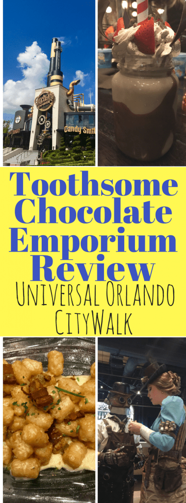 Looking for a great restaurant at Universal Orlando Resort - try CityWalk. Toothsome Chocolate Emporium & Savory Kitchen is a winner. With their fun theming, huge milkshakes, delicious totchos and salads, even brunch, it's the perfect family restaurant for your next Universal Orlando vacation!