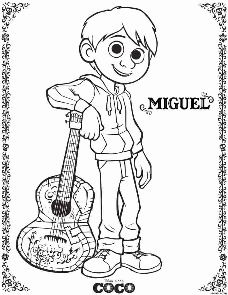 Puedes imprimir la página de colorear de Miguel de la película Coco.
