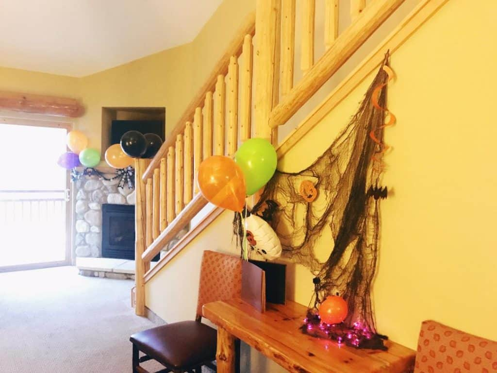 Each room at Great Wold Lodge Williamsburg is decorated for Howl-o-Ween, too!