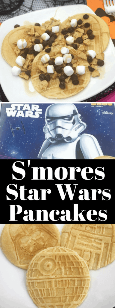 Use The Force to eat this delicious fall treat - S'mores Star Wars Pancakes! Pancakes are not just for breakfast anymore. Try this sweet treat, especially if you're a light side or dark side fan!