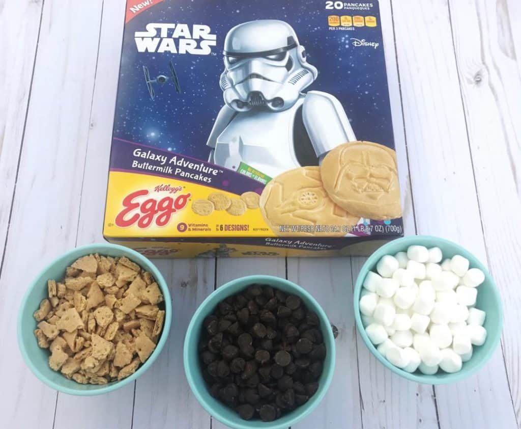 Ingredients needed for S'more Stars Wars Pancakes are chocolate chips, graham crackers, and marshmallows.