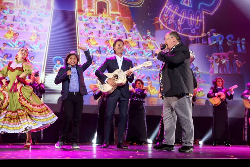 Benjamin Bratt performs at D23 with Anthony Gonzalez to promote Coco.