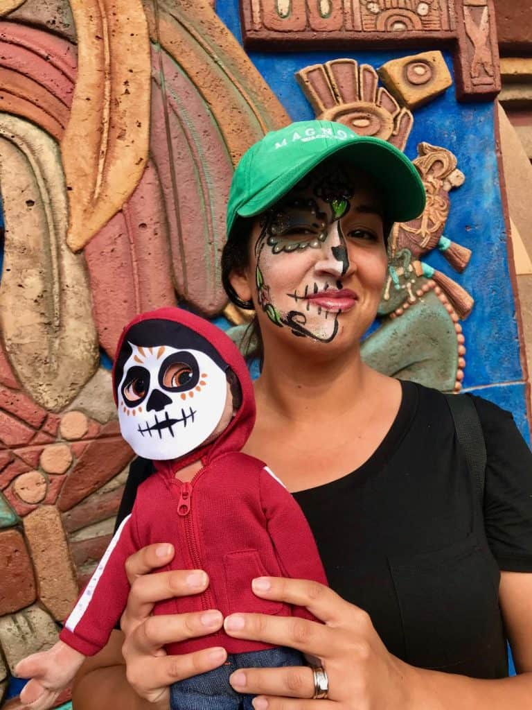 Get your face painted like Coco in Epcot and walk around with your Miguel Plush Doll.