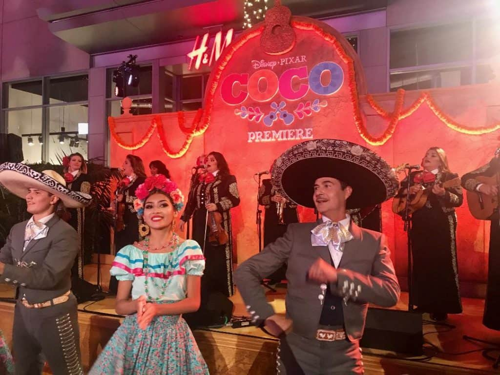 Guests were greeted by mariachis at the Coco Red Carpet Premiere