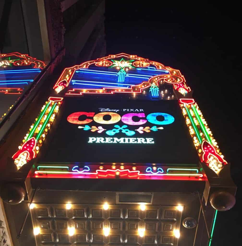 The marquee lit up Hollywood Boulevard at the Coco Red Carpet Premiere.