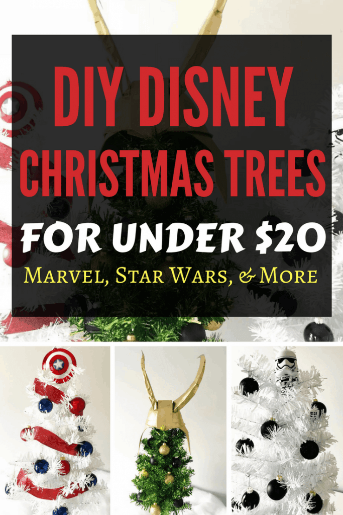 DIY Disney Christmas Trees on a Budget for under $20! Check out my easy Captain America, Loki, and Stormtrooper Christmas Trees just in time for The Last Jedi and Avengers: Infinity War. Get more ideas for Disney themed trees and DisneyBound them!