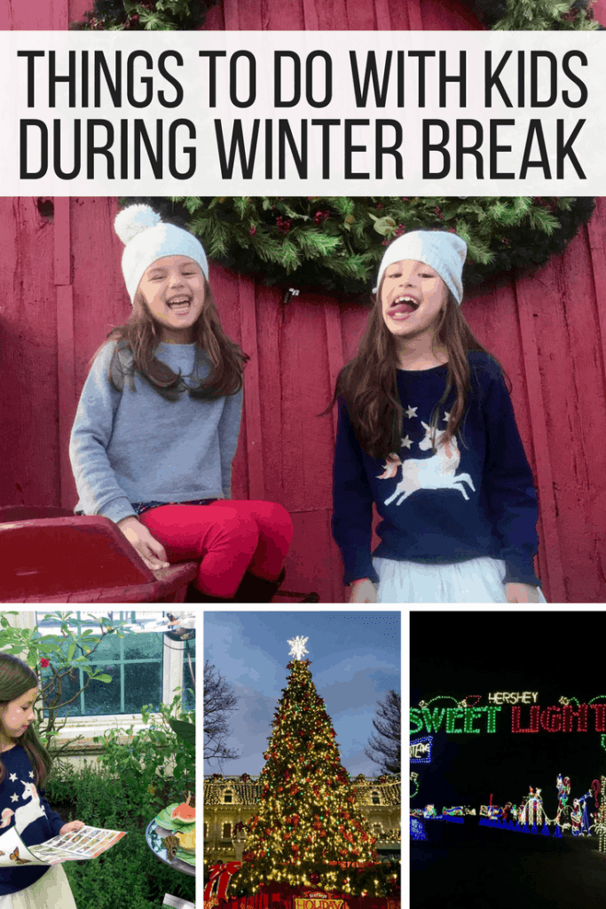 Ideas for things to do with kids during winter break! Try fun activities with kids like travel, holiday lights, photo shoots with coordinating outfits.