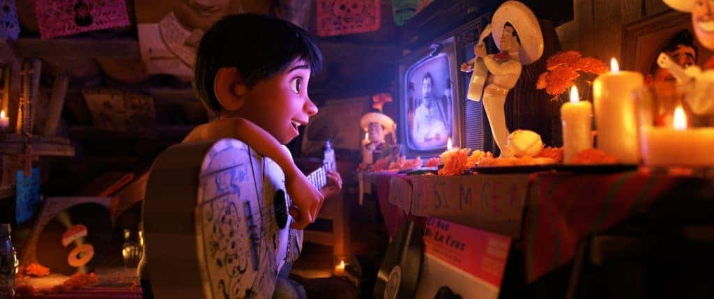 In Disney Pixar's Coco, Miguel makes an ofrenda to Ernesto de la Cruz.