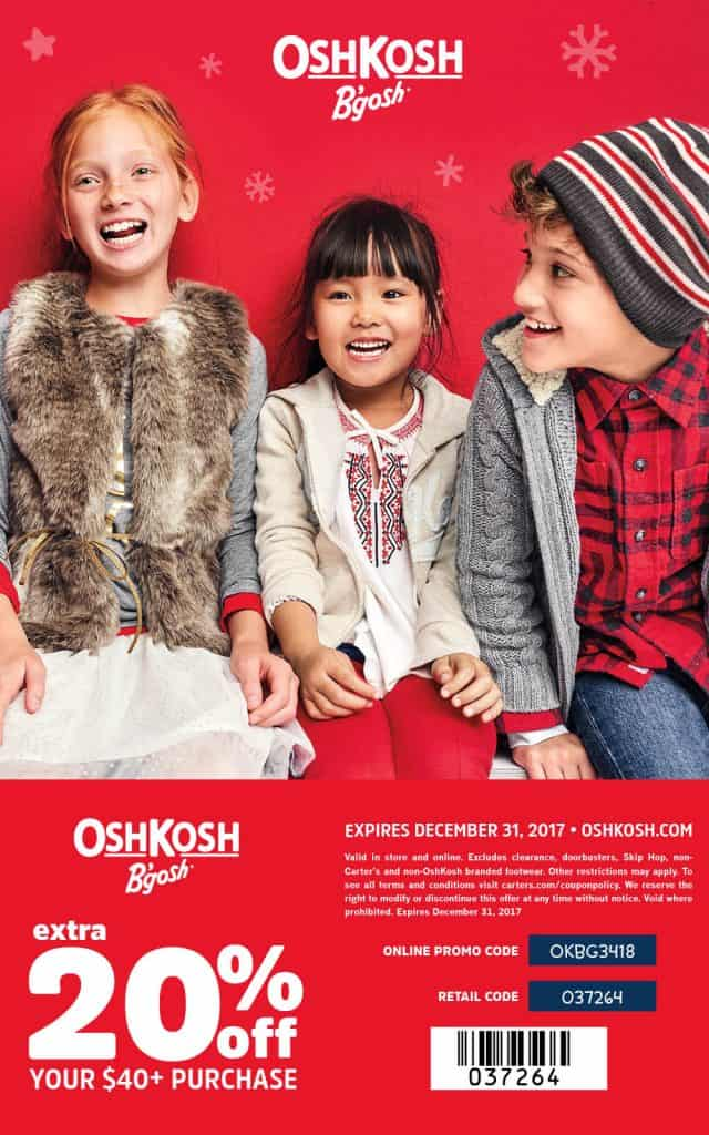 Save some money with this Osh Kosh Coupon and save online or at your local store.