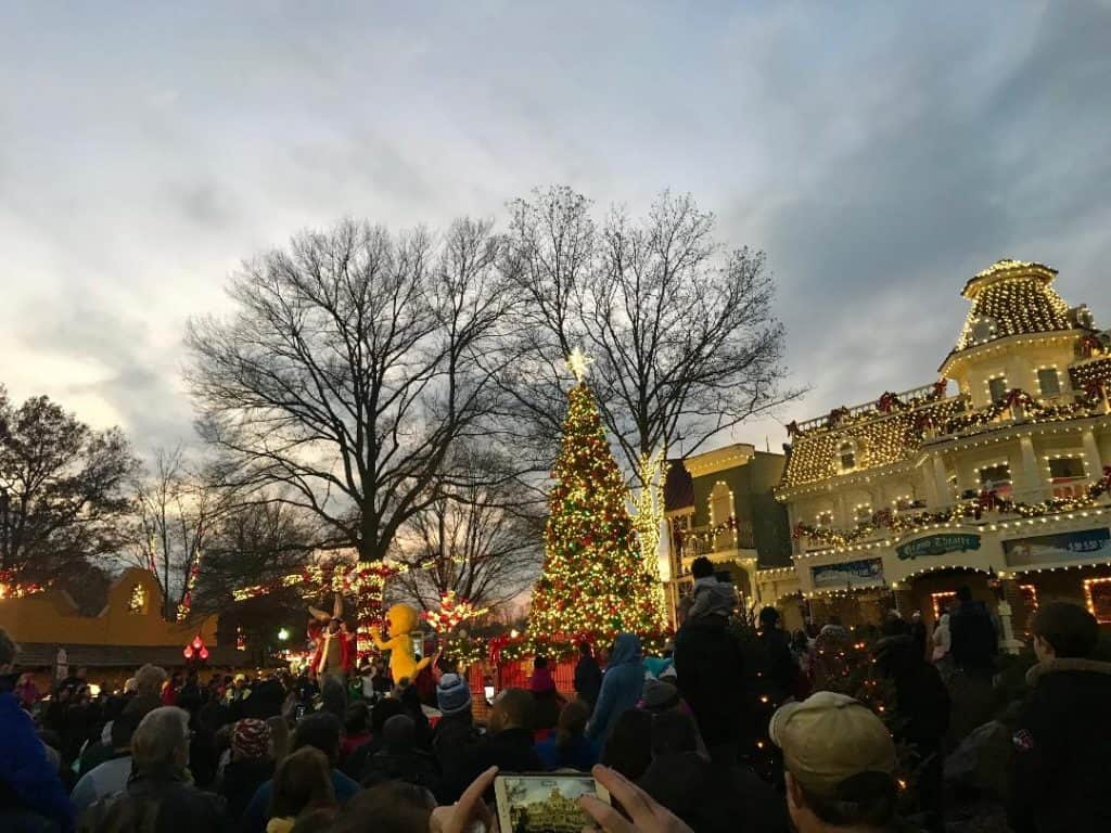 Six Flags America Holiday in the Park tree lighting ceremony