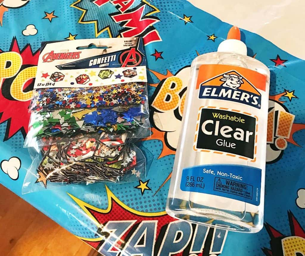 You'll need clear glue and confetti to make Avengers slime and prepare for Avengers: Infinity War.