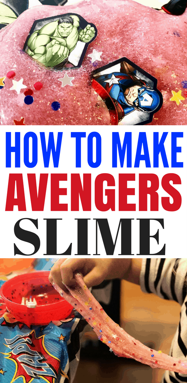 How to Make Avengers Slime without Borax. Simple steps and ingredients for all your Marvel and Avengers: Infinity War fans! This makes for a great superhero party activity and party favor.