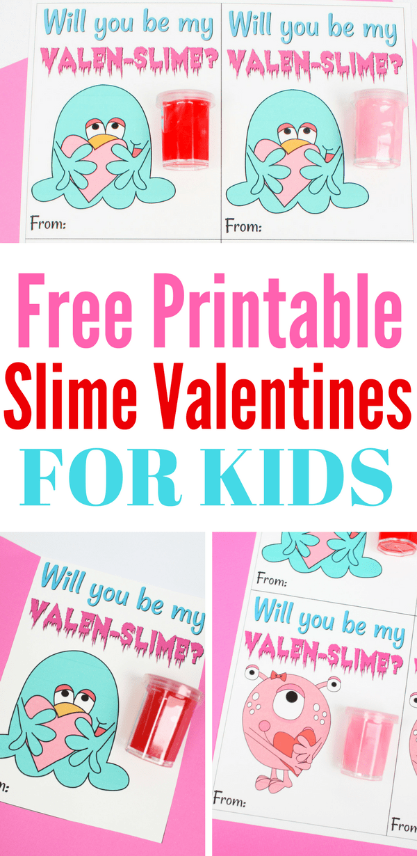 photograph about Slime Recipe Printable identified as Absolutely free Printable Slime Valentines for Young children Non-Sweet Valentines