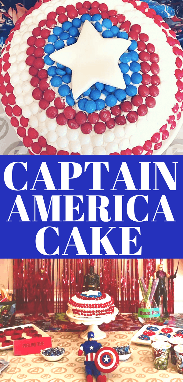 Make an easy, fun Captain America cake for your next Avengers party or Super Hero Party. Avengers: Infinity War is coming to theaters soon, so be prepared with all the Avengers food!