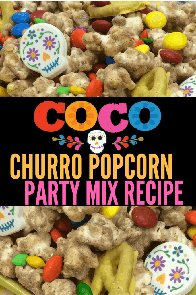 Pixar Coco Popcorn recipe! Great snack for Coco parties, Day of the Dead parties, and Dia De Los Muertos celebrations.