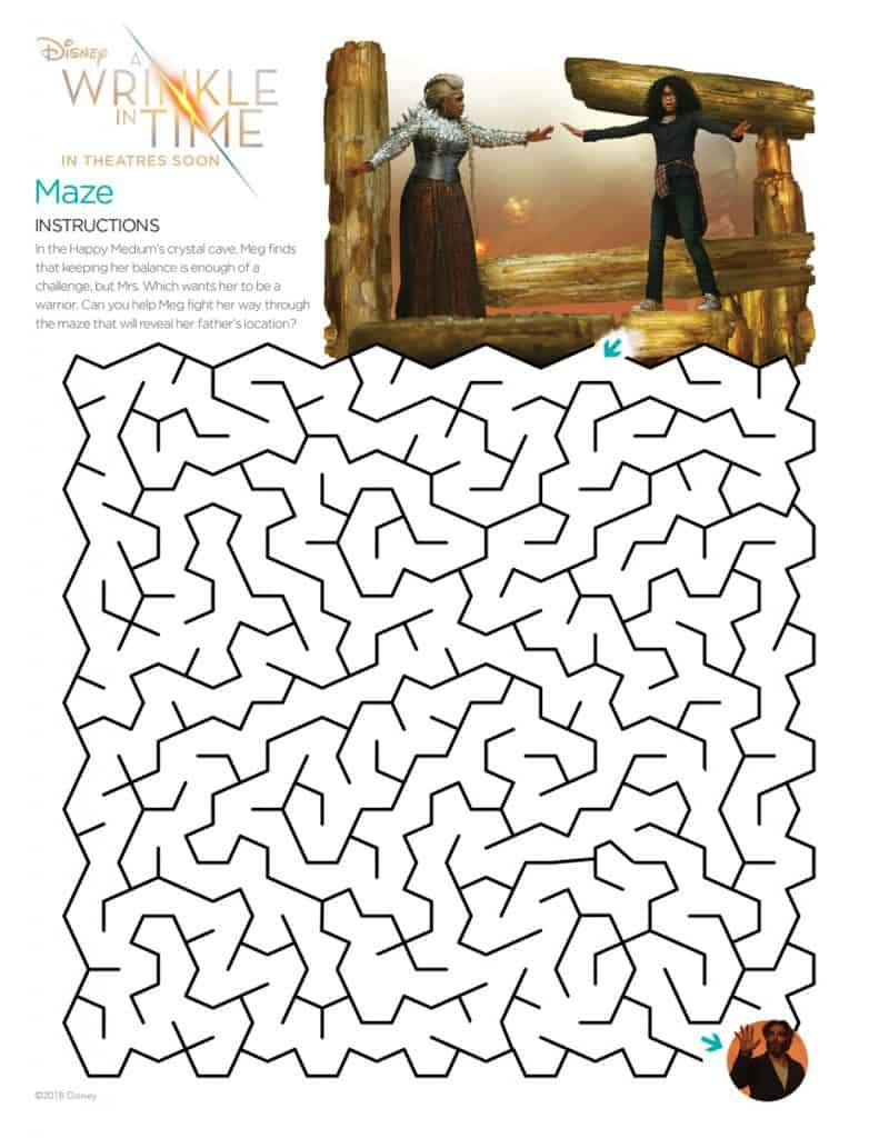 Find your way out of this A Wrinkle in Time Maze.