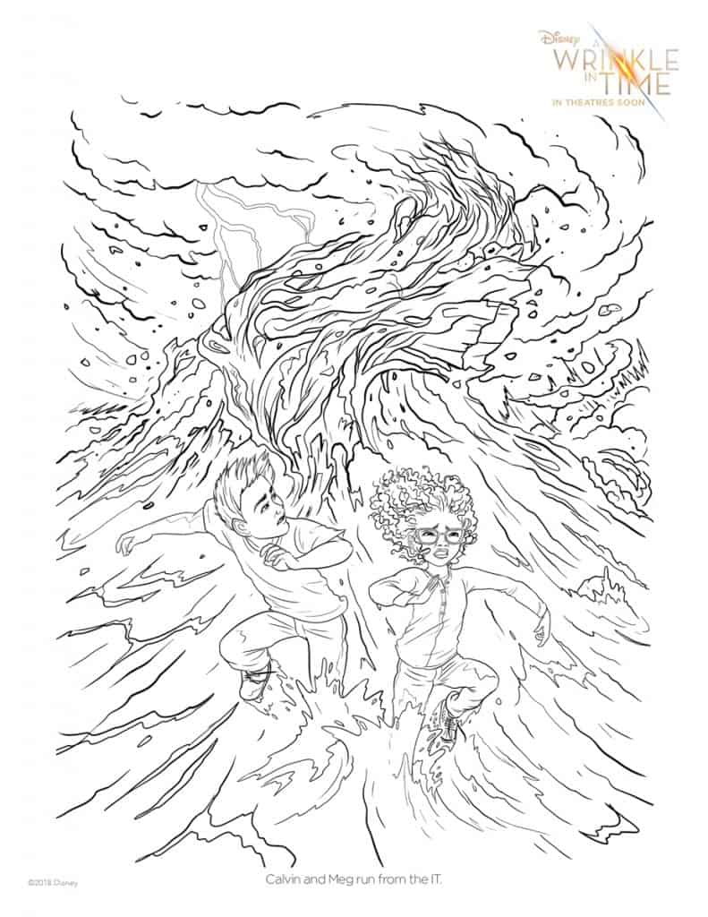 calvin and meg run from the it in this free a wrinkle in time coloring page