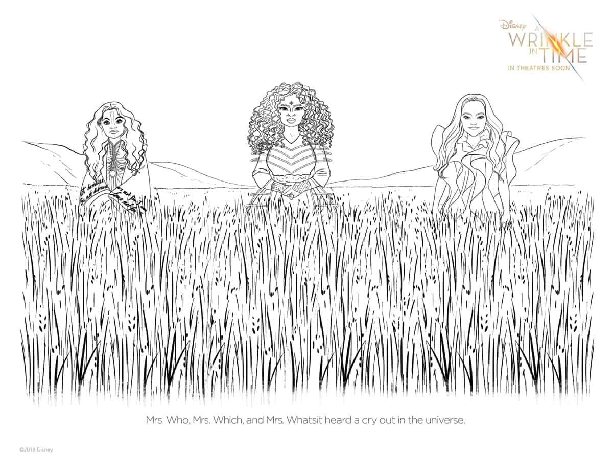 Free Printable coloring page of Mrs. Who, Mrs. Whatsit, and Mrs. Which from a Wrinkle in Time.