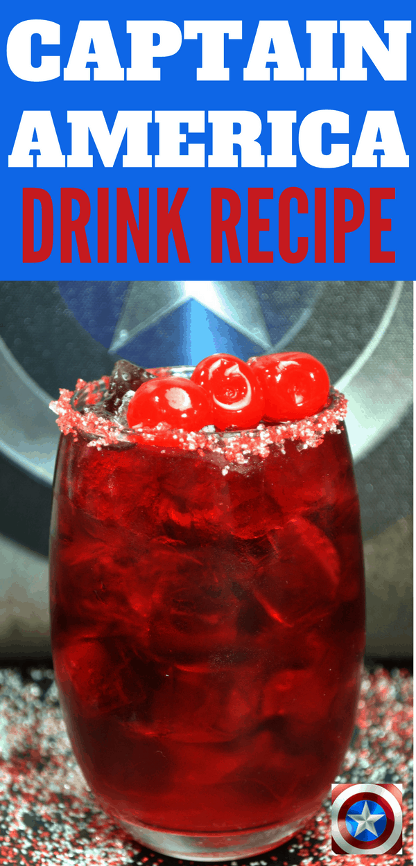 Make this Captain America drink recipe to get ready for Avengers: Infinity War! This non-alcoholic drink is perfect for kids parties or Avengers movies night. You can easily turn it into a cocktail for your adult parties. Also great for 4th of July!