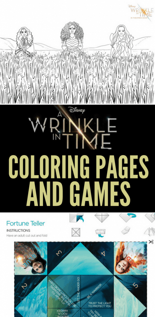 printable a wrinkle in time movie activity sheets and