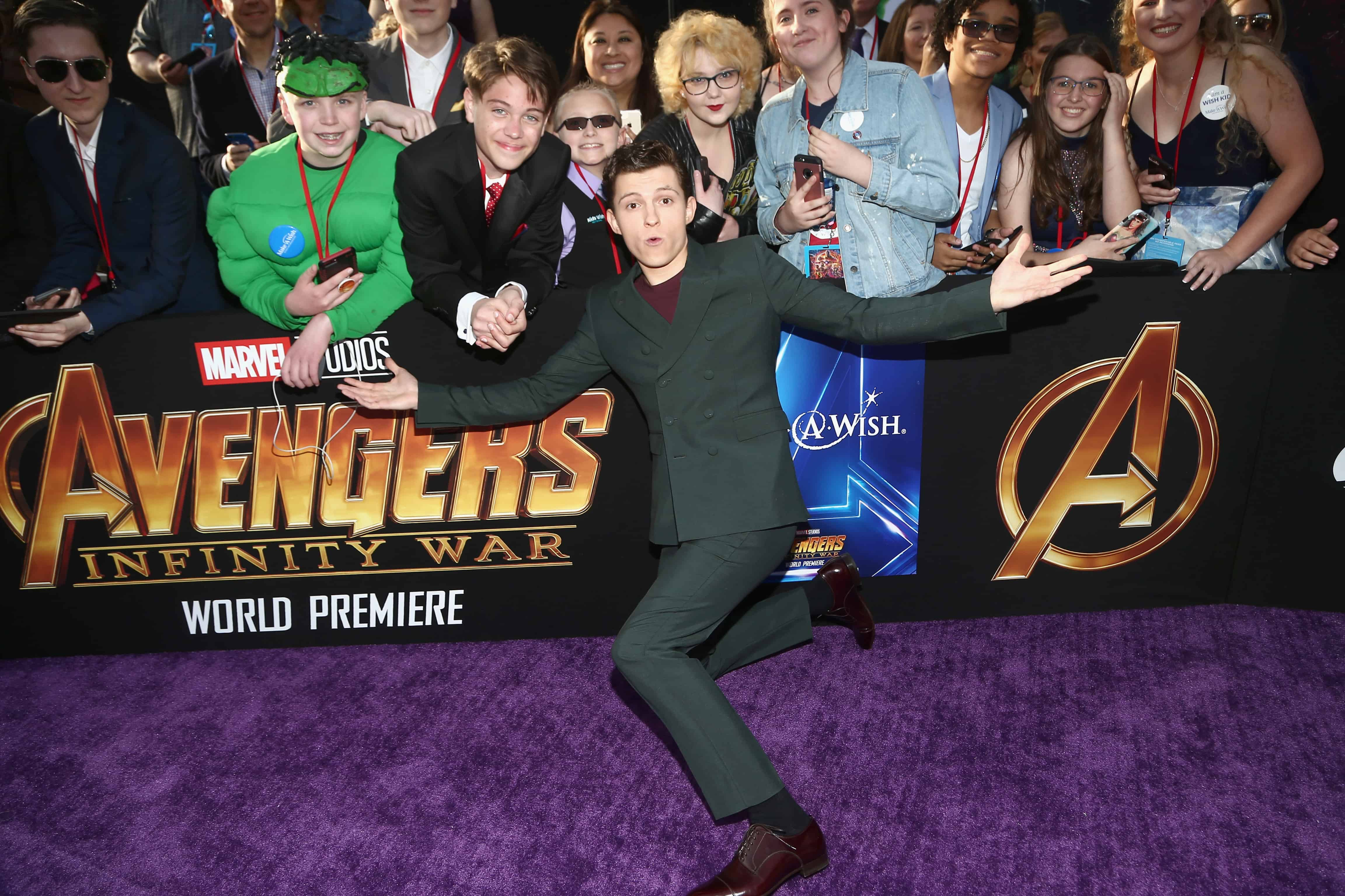 Tom Holland who plays Spider-Man at the Avengers Infinity War Premiere